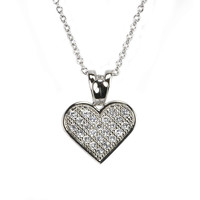 Heart CZ Necklace .925 Sterling Silver Cubic Zirconia Micropave 26mm Clear, 16""