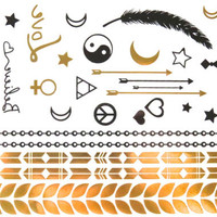 Flash Metallic Tattoos 13 | Astrological Temporary Tattoos