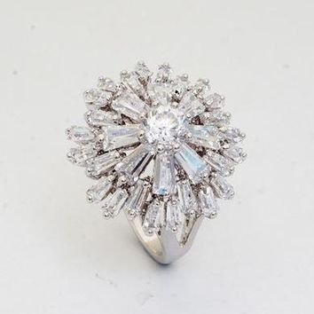 Stunning Diamond CZ Starburst Cocktail Ring - Platinum Filled