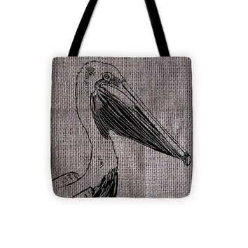 Pelican On Burlap - Tote Bag