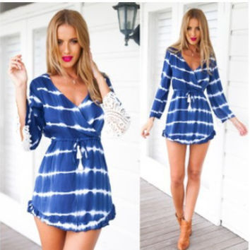 V-neck Lace Patchwork 3/4 Sleeves Sexy Short Beach Dresses