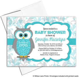 Gender neutral baby shower invites | owl Invitations | turquoise and gray | printable or printed | owl baby shower theme - WLP00730