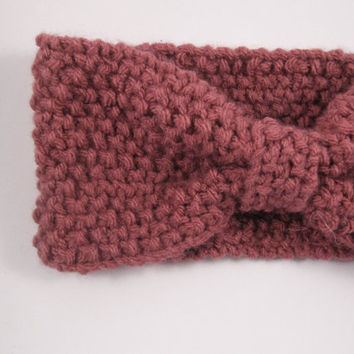 Red knit headband, ear warmer, head warmer, winter accessories, handmade, acrylic