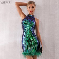 ADYCE 2019 New Summer Runway Feather Celebrity Evening Party Dress Women Vestidos Elegant Sexy Sleeveless Sequin Midi Club Dress