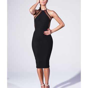 Black Halter Neck Mesh Bodycon Midi Dress