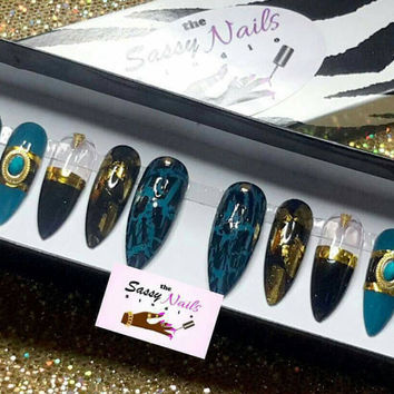 Sassy Glue On Nails: Turquoise And Black Set| Press On Nails| Drag Nails| Stiletto Nails| Coffin Nails| 3d Nails| Faux Nails| Fake Nails