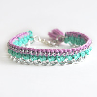Lilac and mint bracelet with chunky chain, crochet bracelet with beads, purple tassel bracelet, mint boho bracelet