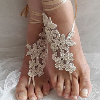 Beaded champagne lace wedding sandals, free shipping!
