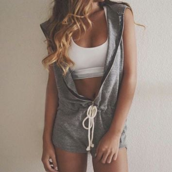 Work Out Babe Sleeveless Hoodie Romper