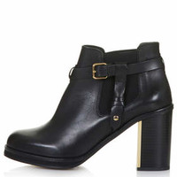 MINE LEATHER BUCKLED ANKLE BOOTS
