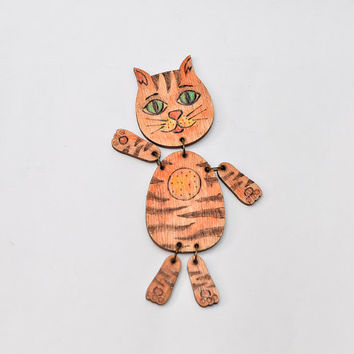 Articulated Pyrography Cat Doll - Red and Brown Cat Wood Toy -  Woodburning