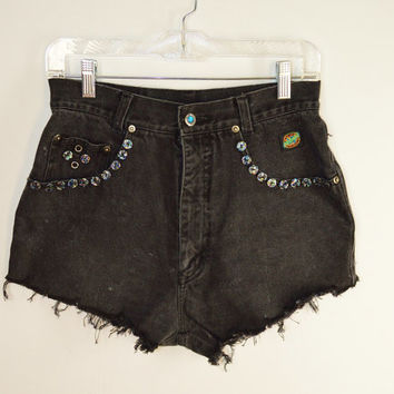 High Waist Shorts Cutoff Black Denim 90s Holographic Jeweled Squeeze Brand Women's 28 29 Fray Distress Vintage