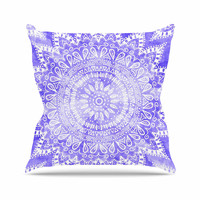 "Nika Martinez ""Boho Flower Mandala in Purple"" Lavender Throw Pillow"