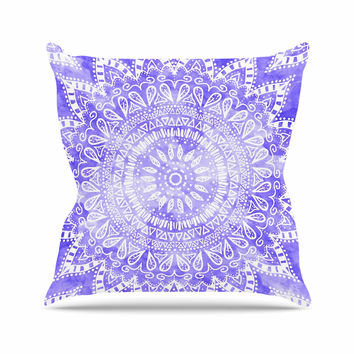 "Nika Martinez ""Boho Flower Mandala in Purple"" Lavender Outdoor Throw Pillow"