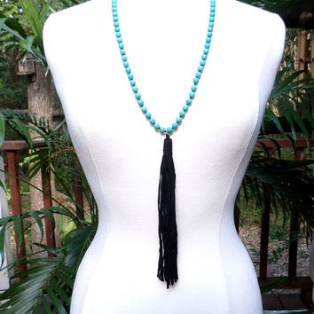 Turquoise Beaded Black Suede Leather Tassel Drop Long Necklace, gift