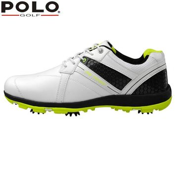 Brand POLO Sport Golf Mens Golf Sports Spiked Genuine Leather Shoes Light weight & Spikes & Breathable & Steady & Waterproof