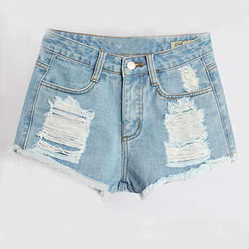 Wash Blue Denim Zipper Shorts