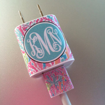 Lilly Pultizer - iphone or ipod Vine Monogram Charger and USB Wrap - Let's Cha Cha