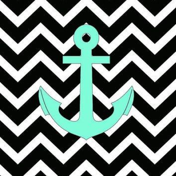 Tiffany Turquoise Anchor Black Zigzag Pattern Art Print by Rex Lambo | Society6