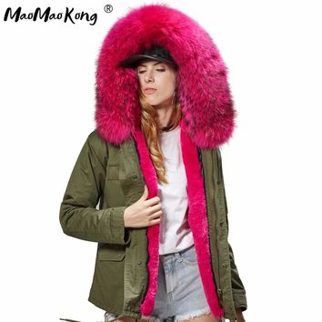 MAO MAO KONG 100% Real Raccoon Fur Collar winter fur coat Women camouflage black parkas & cotton faux fur lining coat jacket