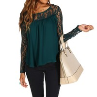 Emerald Lace Yoke Top