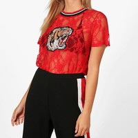 Rosie Tiger Applique Lace Top | Boohoo
