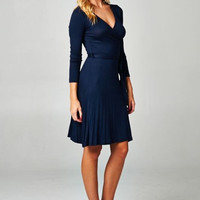 Solid Wrap Dress - Navy