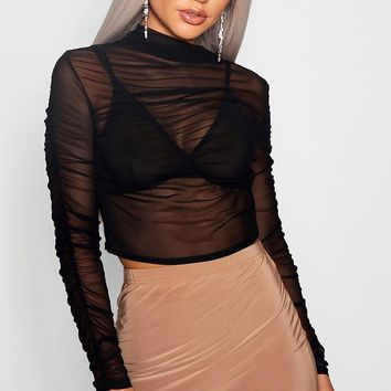 Millicent Mesh Ruched Long Sleeve Crop Top | Boohoo