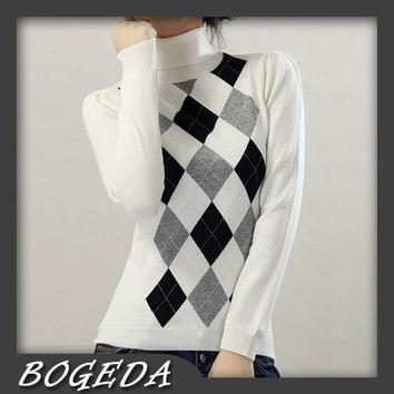 Sweater Women Cashmere Pullover Natural Fabric Warm Soft Black White Gray diamond Spring Autumn Winter Free Shipping Clearance