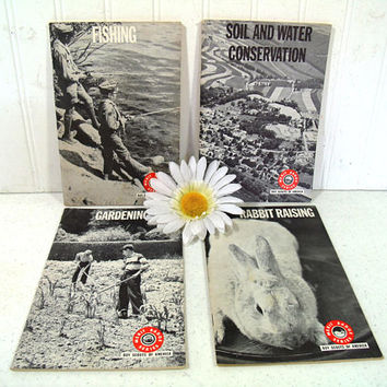 Boy Scouts Books Set of 4 Merit Badge Series Gardening; Fishing; Soil & Water Conservation; Rabbit Raising Requirements Vintage BSA Books