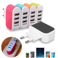 US/EU Plug 3 Ports USB Wall Home Travel AC Power Charger Adapter