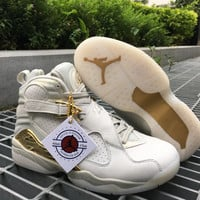 "Air Jordan 8 ""Champagne"" AJ8 Men Sport Basketball Shoes"