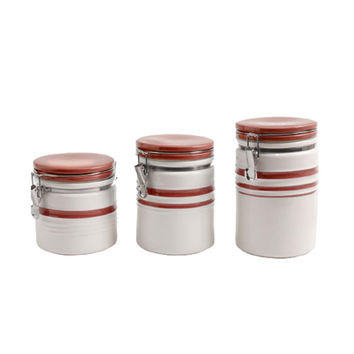 Gibson General Store Hollydale 3 Piece Canister Set in White and Red Band