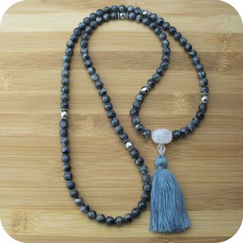 Black Labradorite Mala Necklace with Silver Hematite