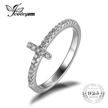 JewelryPalace Cross Sideways Promise Anniversary Ring 925 Sterling Silver Rhodium Plated For Women Fine Jewelry
