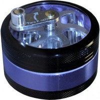 Crank Herb Grinder - Black/Blue - 3-part - Smoking Accessories - Grasscity.com