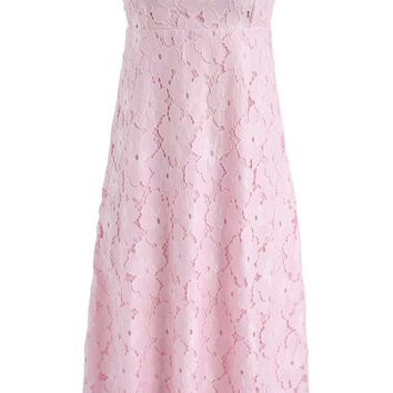 Pink Flower Power Crochet Strapless Dress