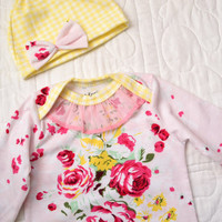 Baby girl gown. Newborn. Color- pink and red floral. See my shop for the matching gown in blue for twins. (Made by lippybrand.)