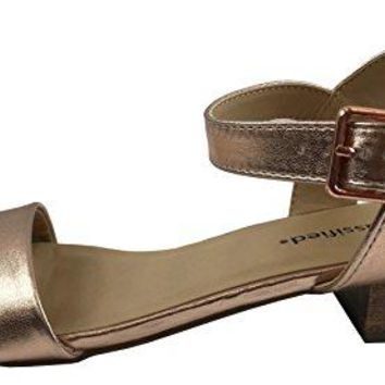 City Classified Womens Open Toe Ankle Strap Low Block Heel Sandal