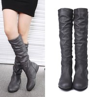 Booties 2018 woman fashion thigh high boots fold leather winter boots women flat sexy night party shoes zapatos de mujer AG 16