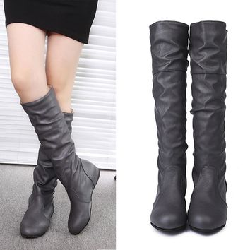 8296d6abf3a Booties 2018 woman fashion thigh high boots fold leather winter boots women  flat sexy night party