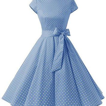 ANCHOVY Womens 1950s Vintage Cap Sleeve Polka Dot Rockabilly Swing Dresses C70