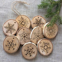 Set of 10 Etched Snowflake Ornaments in Birch-Wood Slice Christmas Ornaments-Wood Slice Hand Burned Snowflake Decor-Rustic Christmas Decor