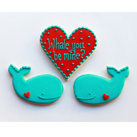 Whale You Be Mine Valentine Gift Box - 3 Cookies - MADE TO ORDER