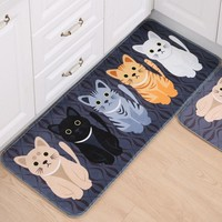 Kawaii Cat Print Floor Mat
