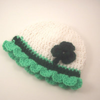 ST PATRICKS DAY and You Choose The Size Crochet baby girl beanie hat newborn 0 3 6 9 12 months