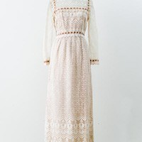 1970s Ivory and Nude Crochet Lace Gown - M
