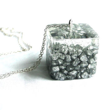 Silver Grey Pebble Resin Pendant Cubed Resin Pendant Silver Pebbles Encased in Resin