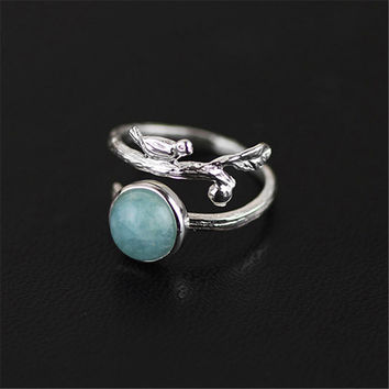 Lotus Fun Real 925 Sterling Silver Natural Aquamarine Stone Handmade Original Designer Fine Jewelry Vintage Female Rings Bijoux