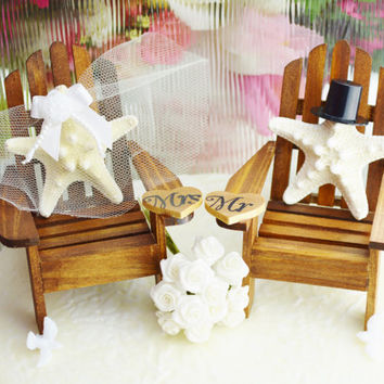 Wedding Cake Topper ~ Miniature Adirondack Chairs  ~ Knobby Starfish Bride / Groom ~ Beach Wedding Decor ~ Cake Topper